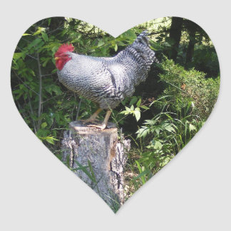 Rooster in the Gardens Heart Sticker