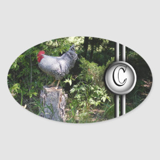 Rooster in the Gardens Oval Sticker