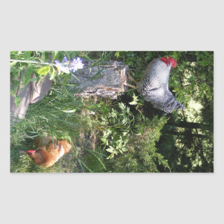 Rooster in the Gardens Rectangular Sticker