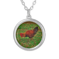 Rooster in the Grass Silver Plated Necklace