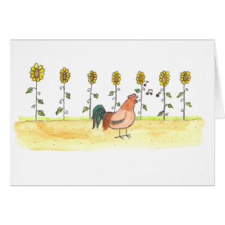 Rooster In The Sunflowers Card