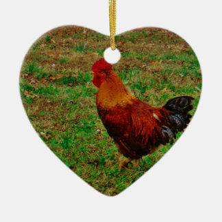 Rooster in the Yard Ceramic Ornament