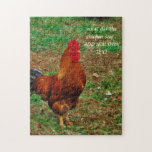 "Rooster Jigsaw Puzzle<br><div class=""desc"">Rooster at the Farm Photo by Sandy Closs. &quot;farm yard rooster  &quot;    &quot;decorative rooster &quot;   &quot;colorful rooster &quot;    &quot; male chicken&quot;   &quot;farm animals &quot;    &quot;gamecock &quot; chicken hen bird</div>"