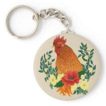 Rooster Keychain Floral Chicken Design