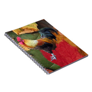 Rooster Leaves Notebook 6.5x8.75""
