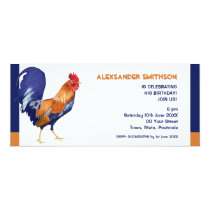 Rooster long Birthday Party Invitation