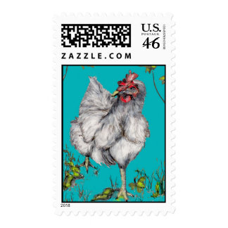 rooster looks for road stamp