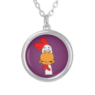 Rooster matching jewelry set round pendant necklace