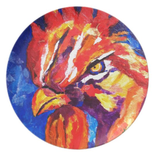Rooster Melamine Plate