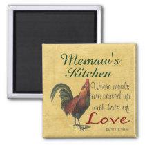 Rooster Memaw's Kitchen Refrigerator Magnet