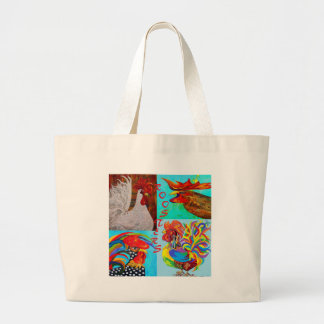 Rooster Menagerie Large Tote Bag