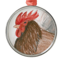 Rooster Metal Ornament