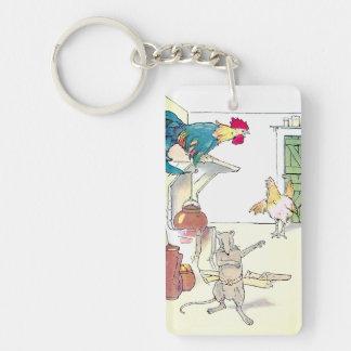 Rooster, Mouse & Hen Await Breakfast Keychain