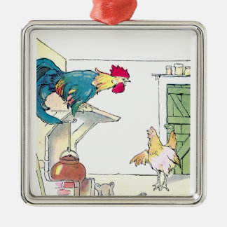 Rooster, Mouse & Hen Await Breakfast Square Metal Christmas Ornament