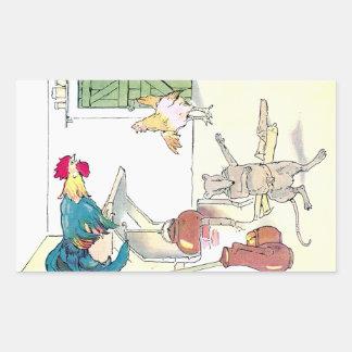 Rooster, Mouse & Hen Await Breakfast Rectangular Sticker