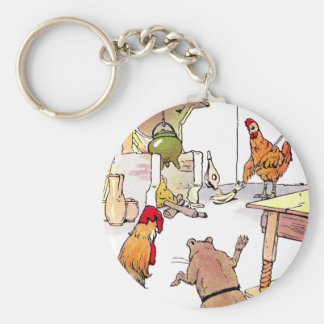 Rooster, Mouse & Hen in Kitchen Keychain
