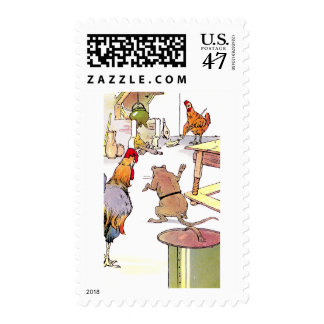 Rooster, Mouse & Hen in Kitchen Postage