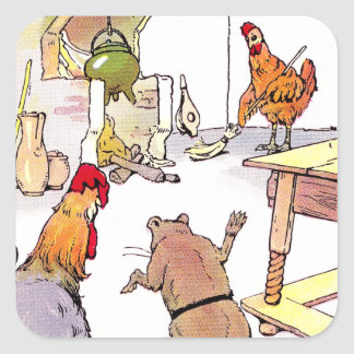 Rooster, Mouse & Hen in Kitchen Square Sticker