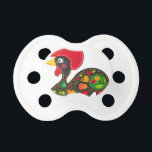 """Rooster of Barcelos Nr02 - Galo de Barcelos Pacifier<br><div class=""""desc"""">The legend: Portugal - Barcelos - The town&#39;s famous symbol is a rooster, in Portuguese called &quot;O Galo de Barcelos&quot; (&quot;the Rooster of Barcelos&quot;). One of the many versions of this legend goes that a rich man threw a big party. When the party was over, the rich man noticed that...</div>"""