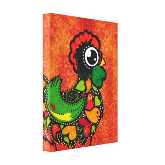 Rooster of Barcelos - Vintage Background Canvas Print