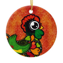 Rooster of Barcelos - Vintage Background Ceramic Ornament