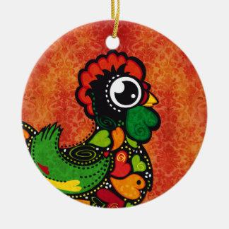 Rooster of Barcelos - Vintage Background Ceramic Ornament