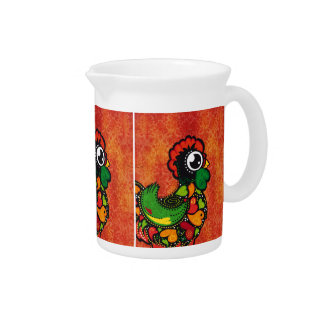 Rooster of Barcelos - Vintage Background Drink Pitcher