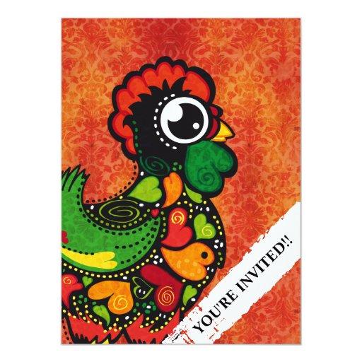 Rooster of Barcelos - Vintage Background 5.5x7.5 Paper Invitation Card