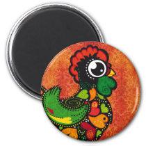 Rooster of Barcelos - Vintage Background Magnet