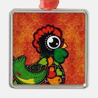 Rooster of Barcelos - Vintage Background Metal Ornament