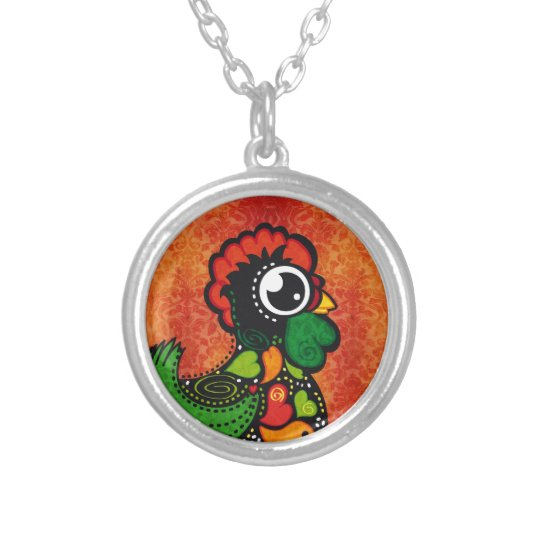 Rooster of Barcelos - Vintage Background Silver Plated Necklace