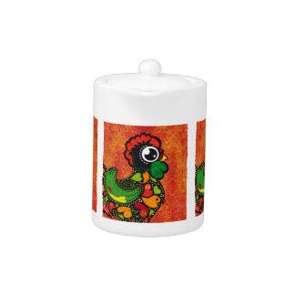 Rooster of Barcelos - Vintage Background Teapot