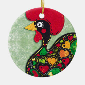 Rooster of Portugal Ceramic Ornament