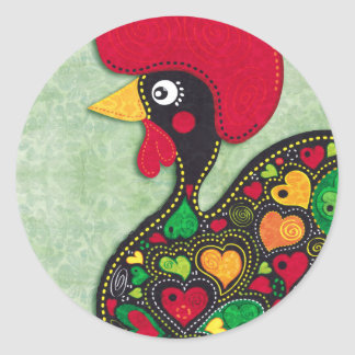 Rooster of Portugal Classic Round Sticker