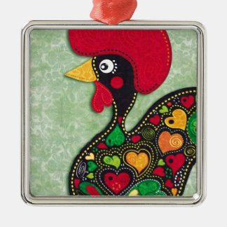 Rooster of Portugal Metal Ornament