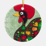Rooster of Portugal Double-Sided Ceramic Round Christmas Ornament