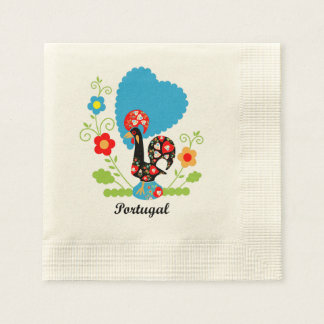 Rooster of Portugal Coined Cocktail Napkin