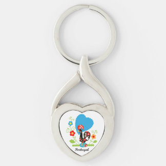 Rooster of Portugal Silver-Colored Heart-Shaped Metal Keychain