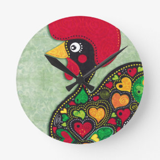 Rooster of Portugal Round Clock
