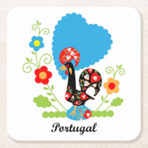 Rooster of Portugal Square Paper Coaster