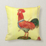 Rooster on Barrel Vintage Illustration Pillow