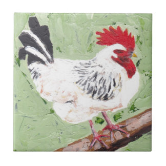 Rooster on Beam Small Square Tile