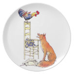 Rooster on Chair Looking Down at Fox Dinner Plate