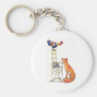 Rooster on Chair Looking Down at Fox Keychain
