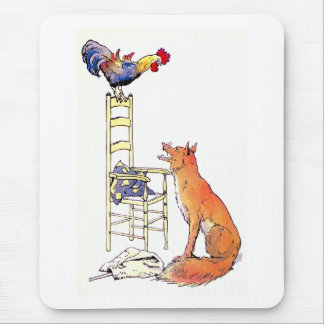 Rooster on Chair Looking Down at Fox Mouse Pad