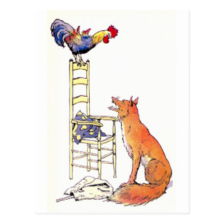 Rooster on Chair Looking Down at Fox Postcard