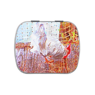rooster on dock abstract swirls jelly belly candy tins