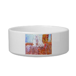 rooster on dock abstract swirls pet bowls