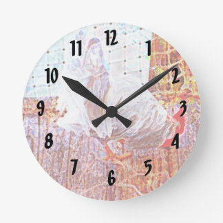 rooster on dock abstract swirls round clock
