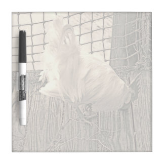 rooster on dock sepia bird image dry erase board